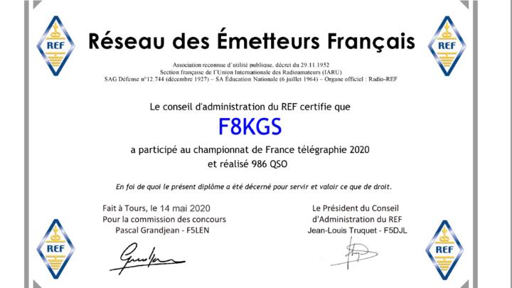 Résultats 2020 du championnat de France Télégraphie (CW).