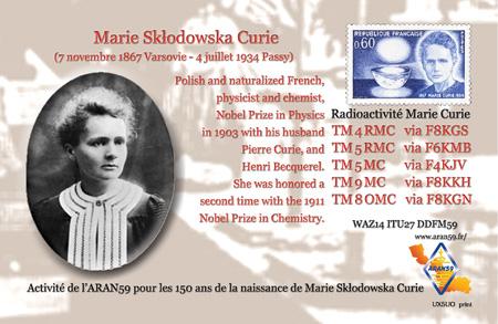 Les 150 ans de la naissance de Marie Curie (TM4RMC)